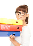Businesswoman with folders Stock Photos