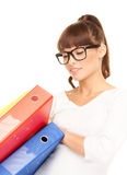 Businesswoman with folders Royalty Free Stock Image