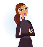 Businesswoman folding arms and smiling Royalty Free Stock Images