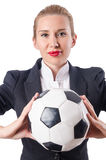 Businesswoman with football Stock Photos