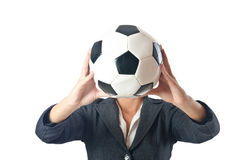 Businesswoman with football Stock Image