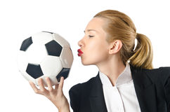 Businesswoman with football Royalty Free Stock Image