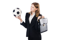 Businesswoman with football Royalty Free Stock Photo