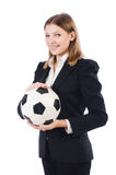 Businesswoman with football Stock Photo