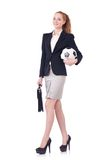 Businesswoman with football Royalty Free Stock Photography