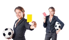 The businesswoman with football on white Royalty Free Stock Image