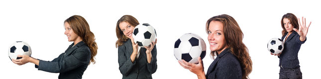 The businesswoman with football on white Stock Photography