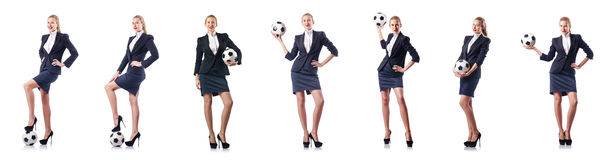 The businesswoman with football on white Stock Photos
