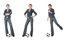 The businesswoman with football on white Royalty Free Stock Photos