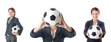 The businesswoman with football on white Stock Image