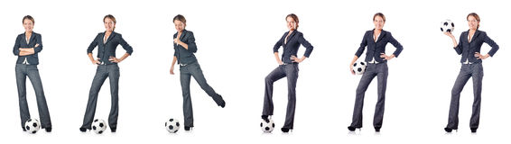 The businesswoman with football on white Stock Photo