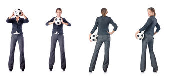The businesswoman with football on white Royalty Free Stock Photography