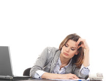 A businesswoman in formal clothes feeling sad Stock Photo