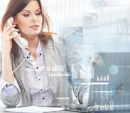 Businesswoman in formal clothes on the phone Stock Photography
