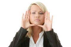 Businesswoman framing her face Royalty Free Stock Photo