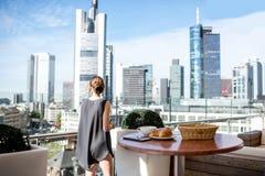 Businesswoman in Frankfurt Stock Image