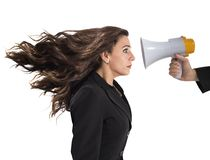 Businesswoman frightened by reproach Stock Photo