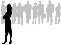 Businesswoman in front. Vector illustration of businesswoman in front and behind her business people Royalty Free Stock Photography
