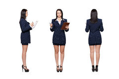 Businesswoman front back side view isolated. Businesswoman front, back, side view, isolated on white Royalty Free Stock Images