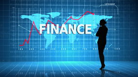 Businesswoman in front of global business interface stock video