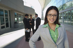 Businesswoman In Front Of Office Building Stock Photos