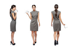 Businesswoman front side back view Royalty Free Stock Image