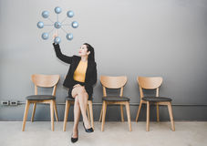 Businesswoman in front of visual Royalty Free Stock Images