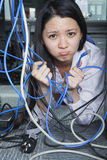 Businesswoman Frustrated by Ethernet Cord Stock Image