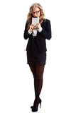 Businesswoman full lenght  portrait with tablet Stock Images