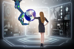 The businesswoman in futuristic global business concept. Businesswoman in futuristic global business concept Royalty Free Stock Photo