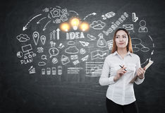 Businesswoman generating business idea. Attractive asian businesswoman with clipboard standing on chalkboard background with charts and icons. She is generating stock image