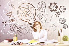 Businesswoman generating creative ideas Stock Photo