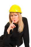 A businesswoman gestures for silence Royalty Free Stock Image