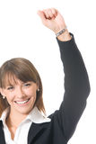 Businesswoman gesturing. Young business woman gesturing, isolated Stock Photo