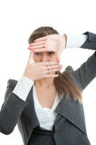 Businesswoman gesturing against white background royalty free stock image