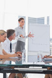 Businesswoman gesturing in front of a growing chart on a whitebo Stock Image
