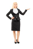 Businesswoman gesturing with hand Royalty Free Stock Photos