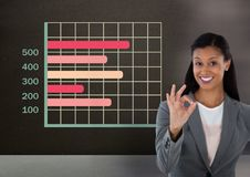 Businesswoman gesturing ok with colorful grid chart statistics. Digital composite of Businesswoman gesturing ok with colorful grid chart statistics stock photos