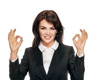 Businesswoman gesturing ok Stock Images