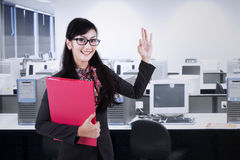 Businesswoman gesturing okay 1 Stock Photo