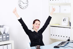 Businesswoman gesturing okay sign. Royalty Free Stock Photography