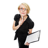 Businesswoman Gesturing With Pen Stock Images