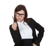 Businesswoman Holding Pencil Royalty Free Stock Images