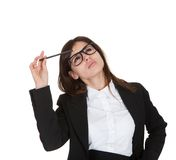 Businesswoman Holding Pencil Royalty Free Stock Photography