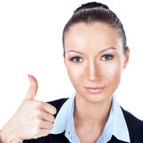 Businesswoman gesturing thumbs up Stock Photography