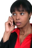 Businesswoman Getting Bad News. Royalty Free Stock Image