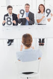 Businesswoman getting her interview rating Stock Images