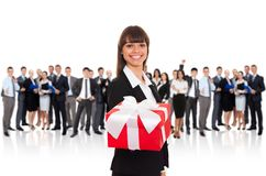 Businesswoman gift box Stock Photos