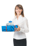 Businesswoman with gifts Royalty Free Stock Photo