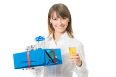 Businesswoman with gifts Stock Photo